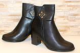 Сапоги женские черные на удобном каблуке Д616, фото 4