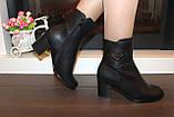 Сапоги женские черные на удобном каблуке Д616, фото 6
