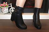 Сапоги женские черные на удобном каблуке Д616, фото 7