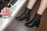 Сапоги женские черные на удобном каблуке Д616, фото 9