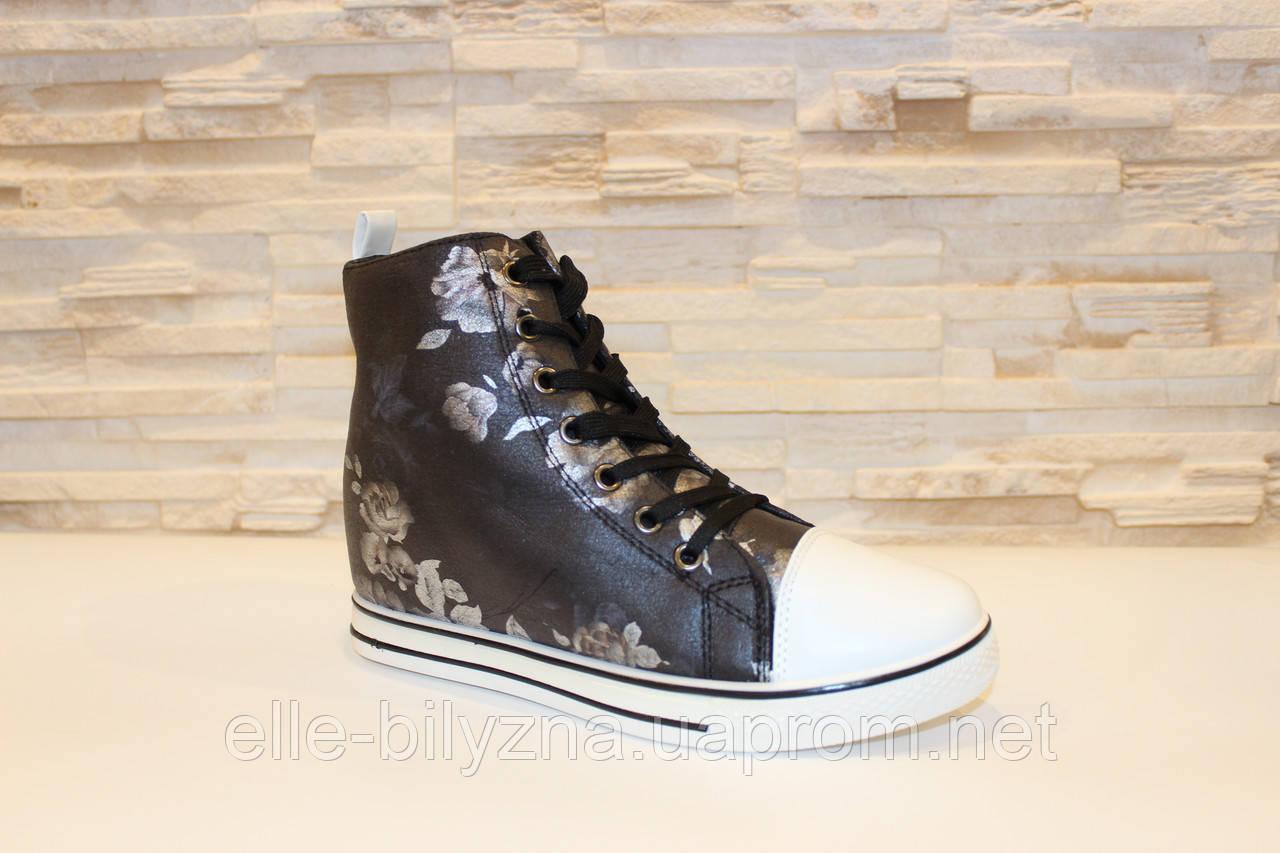 Ботиночки сникерсы женские черные Д364