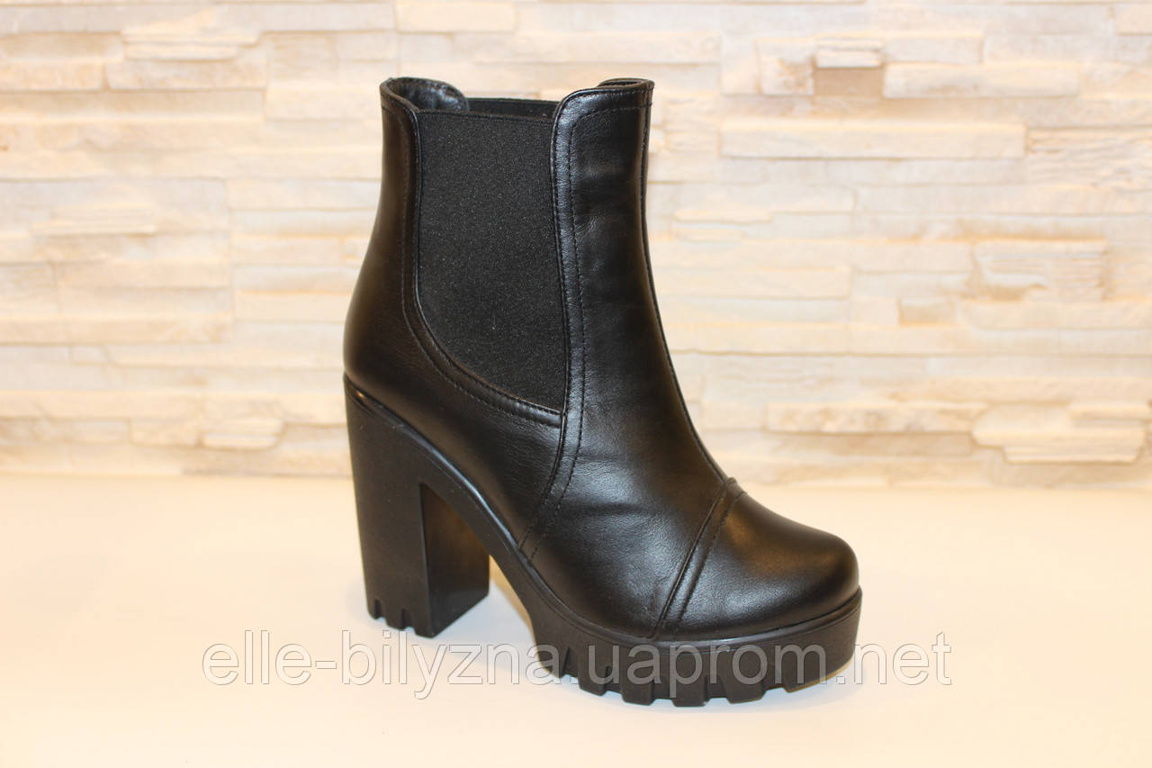 Ботинки женские черные натуральная кожа Д442