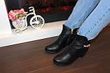 Ботиночки женские черные на небольшом каблуке Д558, фото 6