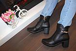 Ботиночки женские черные на небольшом каблуке Д558, фото 7