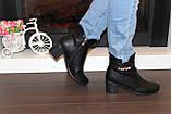 Ботиночки женские черные на небольшом каблуке Д558, фото 9