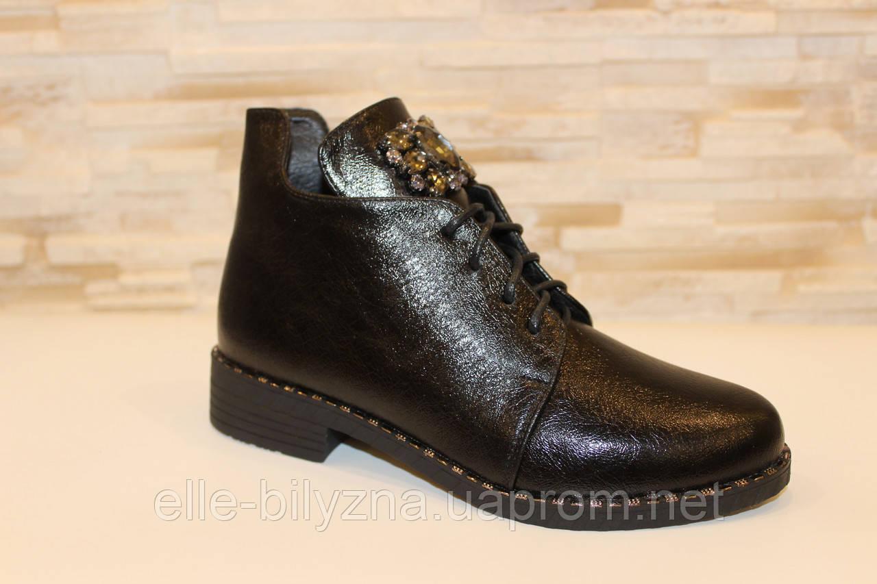 Ботинки женские черные с камнями Д599
