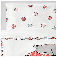 IKEA BUSSIG (703.671.42) Детский комплект постельного белья, 3 шт., Разноцветный, серый, 60x120 см.