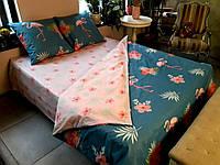 Комплект постельного белья Фламинго сатин - дуэт  -полуторка, двуспальные,евро оптом и в розницу S908