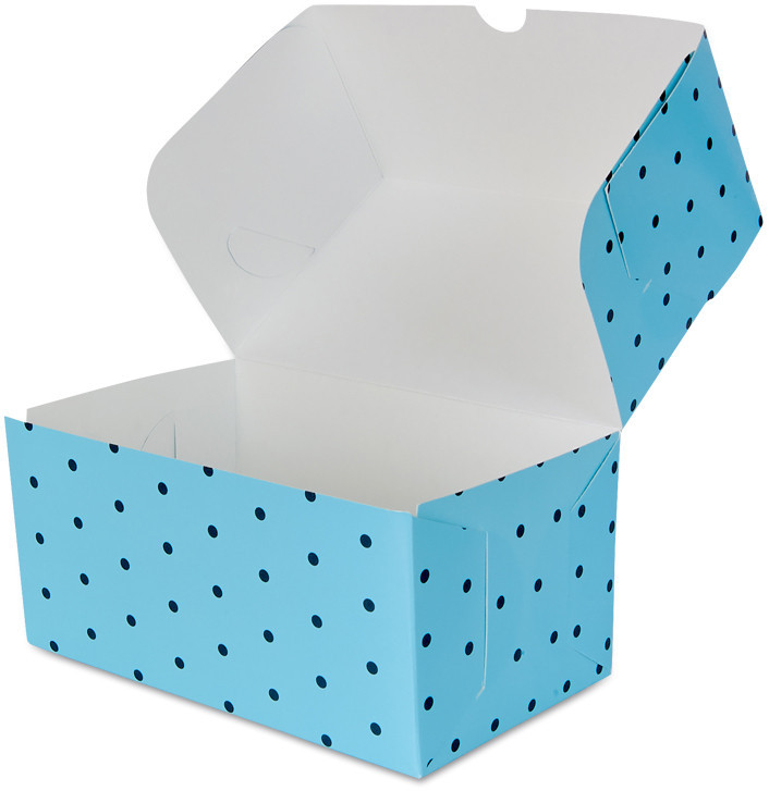 """Бокс одноразовый для десертов 18х12х8 см., 100 шт/уп бумажный, голубой """"Голубой горошек"""""""