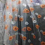 """Органза белого цвета с принтованой печатью """"маки"""" высота 2.8 м. на метраж и опт., фото 3"""