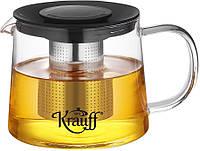 Заварочный чайник стеклянный 1000 мл Krauff, фото 1