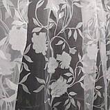"""Органза белого цвета с принтованой печатью """"цветок"""" высота 2.8 м. на метраж и опт., фото 3"""