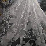"""Органза белого цвета с принтованой печатью """"цветок"""" высота 2.8 м. на метраж и опт., фото 2"""