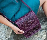 Кожаная женская сумка, фиолетовая сумочка, сумка через плечо, фото 1