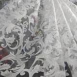 """Тюль органза белого цвета с принтованой печатью """"вензель"""" высота 2.8 м. на метраж и опт., фото 2"""
