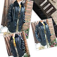 Куртка женская больших размеров из экокожи, на меху внутри, с меховым воротником OS