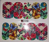 Наклейки - слайдеры на ногти - бабочки.