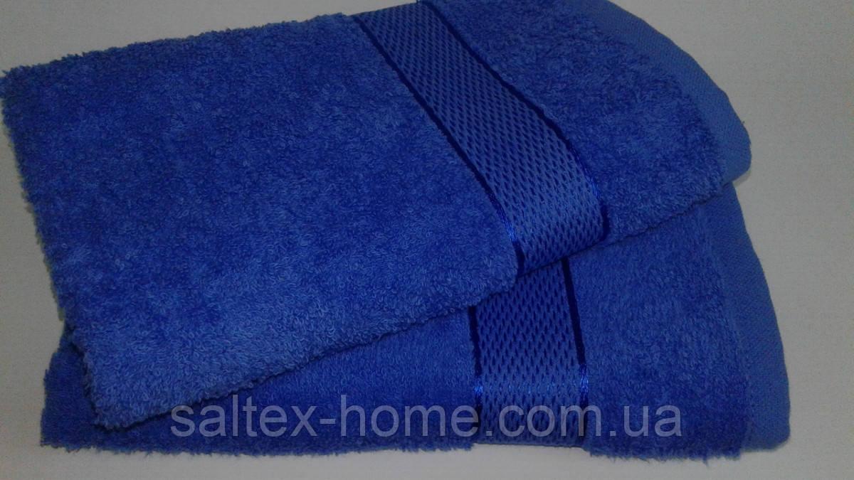 Махровое полотенце 40х70 см для лица, 400 г/м, Узбекистан, синего цвета