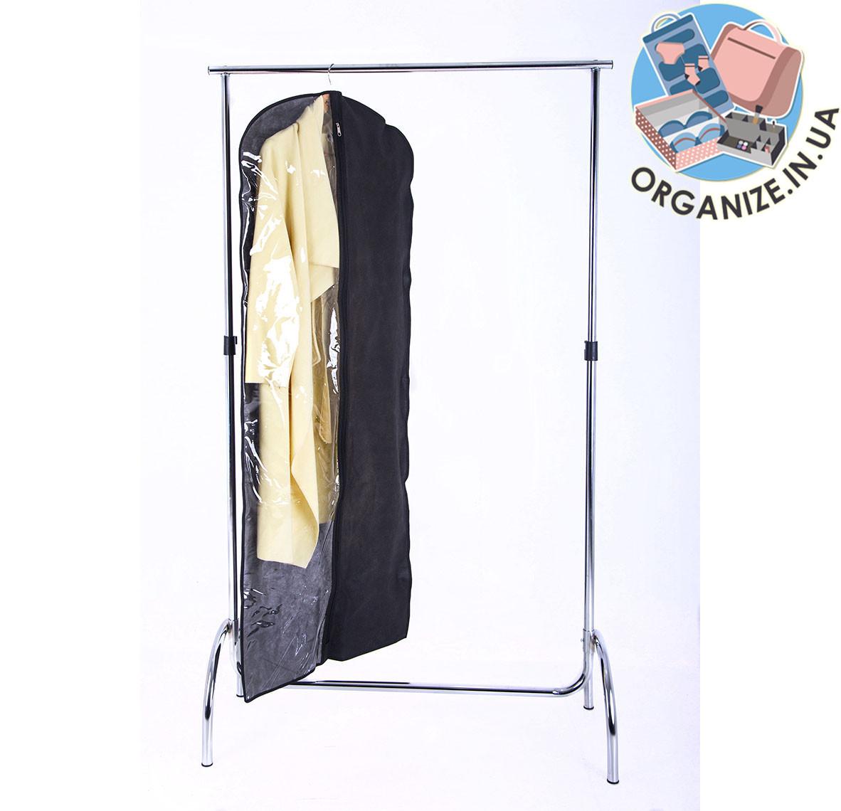 Чехол для одежды с прозрачной вставкой 60*150 см (черный)