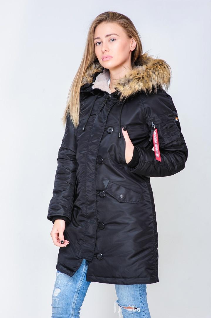 Парка женская Olymp зимняя черного цвета. Стильная женская зимняя теплая куртка черная.