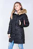 Парка женская Olymp зимняя черного цвета. Стильная женская зимняя теплая куртка черная. , фото 1