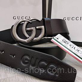 Ремень Gucci кожаный черный с серебряной глянцевой пряжкой