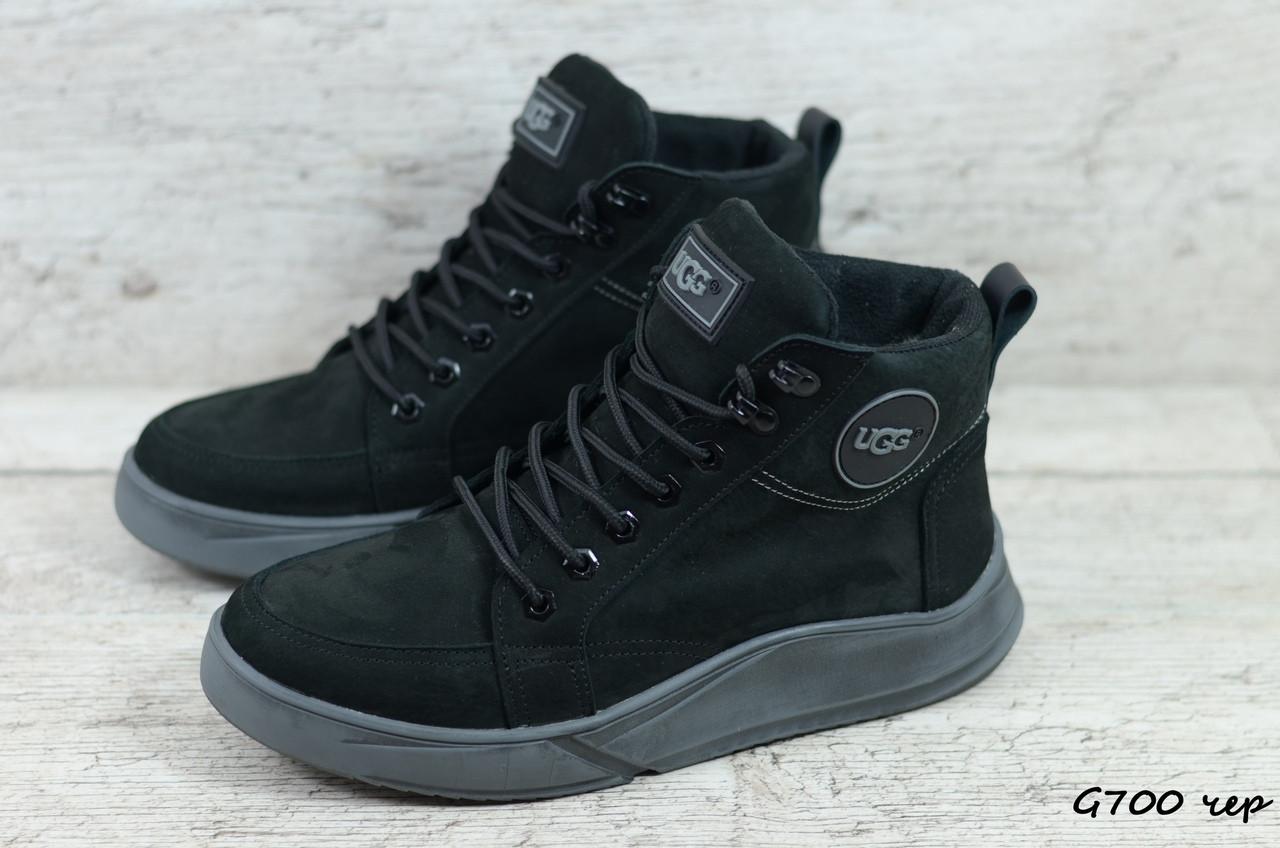 Мужские зимние ботинки Ugg (Реплика) (Код: G700 чер  ) ►Размеры [40,41,42,43,44,45]