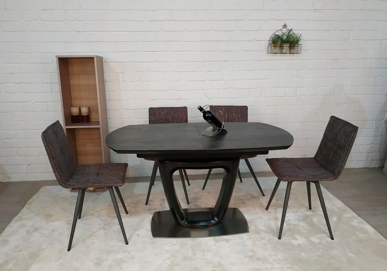 Стол обеденный OTTAWA  (140+(40)*85*76 керамика) коричневый графит