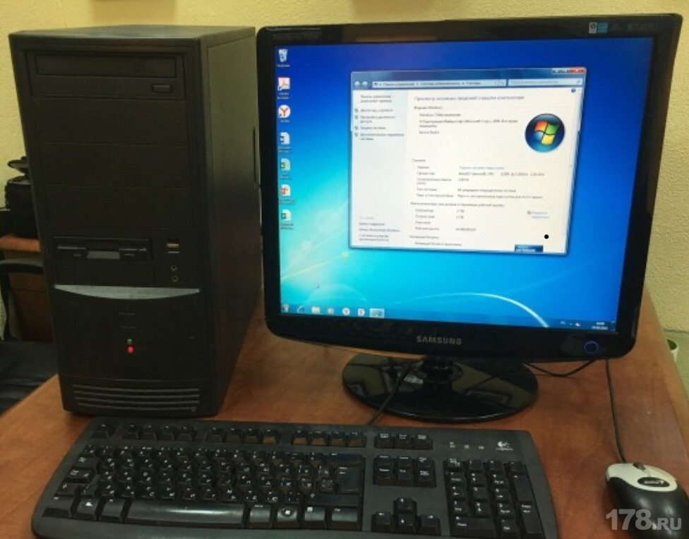 Компьютер в сборе, Intel Core 2 Quad 4x2.4 Ггц, 8 Гб ОЗУ DDR3, 320 Гб HDD, монитор 17 дюймов