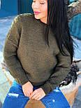 Женский теплый шерстяной вязаный свитер  (в расцветках), фото 9