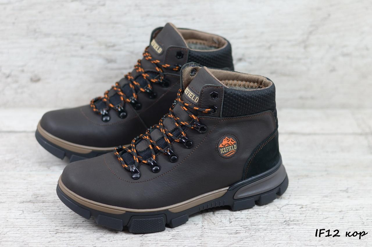 Мужские кожаные зимние ботинки IceField (Реплика) (Код: IF12 кор  ) ►Размеры [40,41,42,43,44,45]