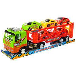 Игровой набор Трейлер с машинкам 9068-1 грузовик с инерционным механизмом