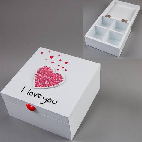 "Шкатулка деревянная ""I love you"", белая, 14х14х7 см, фото 2"