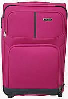 Тканевый чемодан с металлическим каркасом на двух колесах FLY розовый_большой, Польский
