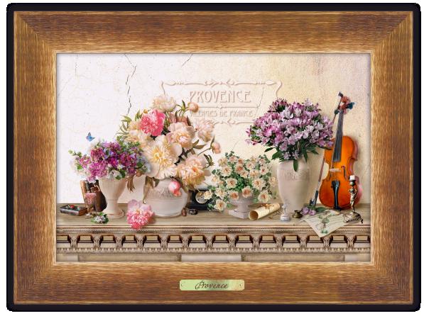 """Картина класична """"Прованс"""" """"Букет піон з скрипкою"""""""