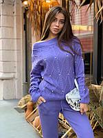 Стильный женский вязаный костюм с бусинками,машинная вязка KS - 96, фото 1