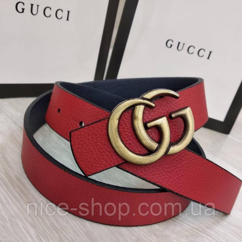 Ремень Gucci красный с золотой матовой пряжкой, узкий, 3 см, фото 2