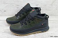 Мужские кожаные зимние ботинки/кроссовки Fila (Реплика) (Код: 101 ч/з/р  ) ►Размеры [42], фото 1