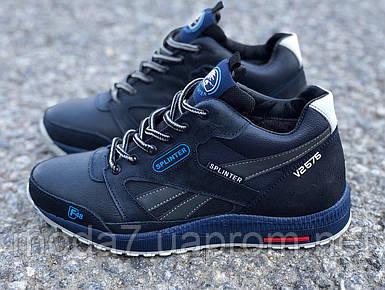 Подростковые кожаные зимние Ботинки Синие