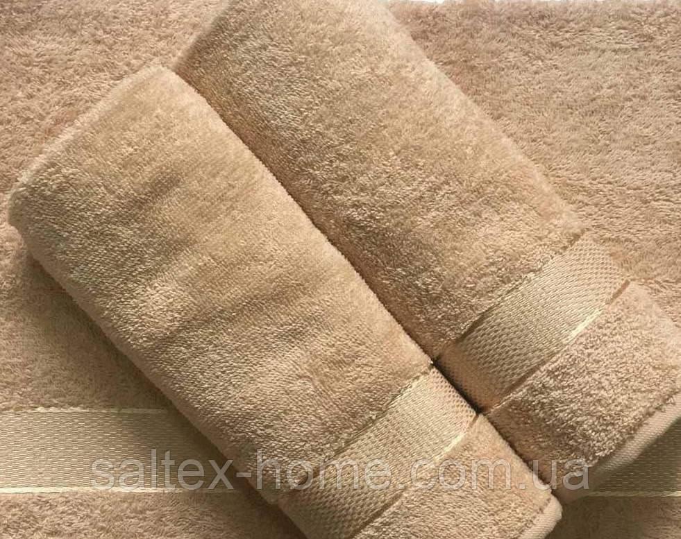 Махровое полотенце 50х90 см для лица, 400 г/м, Узбекистан, бежевого цвета