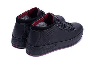 Мужские зимние кожаные ботинки в стиле ZG Black Exclusive Leather, фото 2