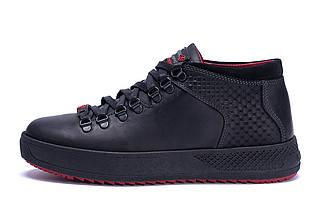 Мужские зимние кожаные ботинки в стиле ZG Black Exclusive Leather, фото 3