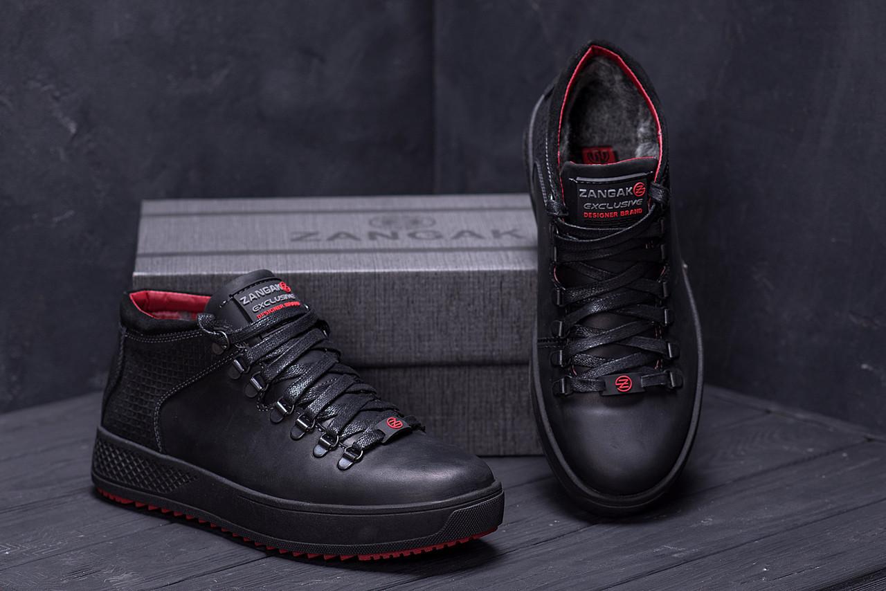 Мужские зимние кожаные ботинки в стиле ZG Black Exclusive Leather