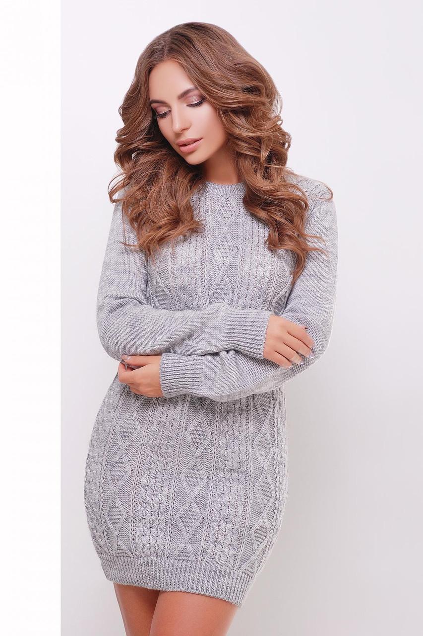 В'язана жіноча сукня-туніка сіре розмір 44-48