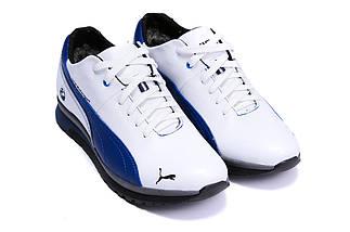 Мужские зимние кожаные ботинки в стиле Puma BMW MotorSport White Pearl, фото 2