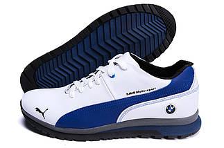 Мужские зимние кожаные ботинки в стиле Puma BMW MotorSport White Pearl, фото 3