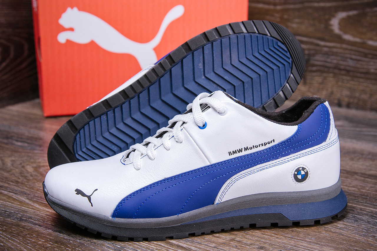 Мужские зимние кожаные ботинки в стиле Puma BMW MotorSport White Pearl