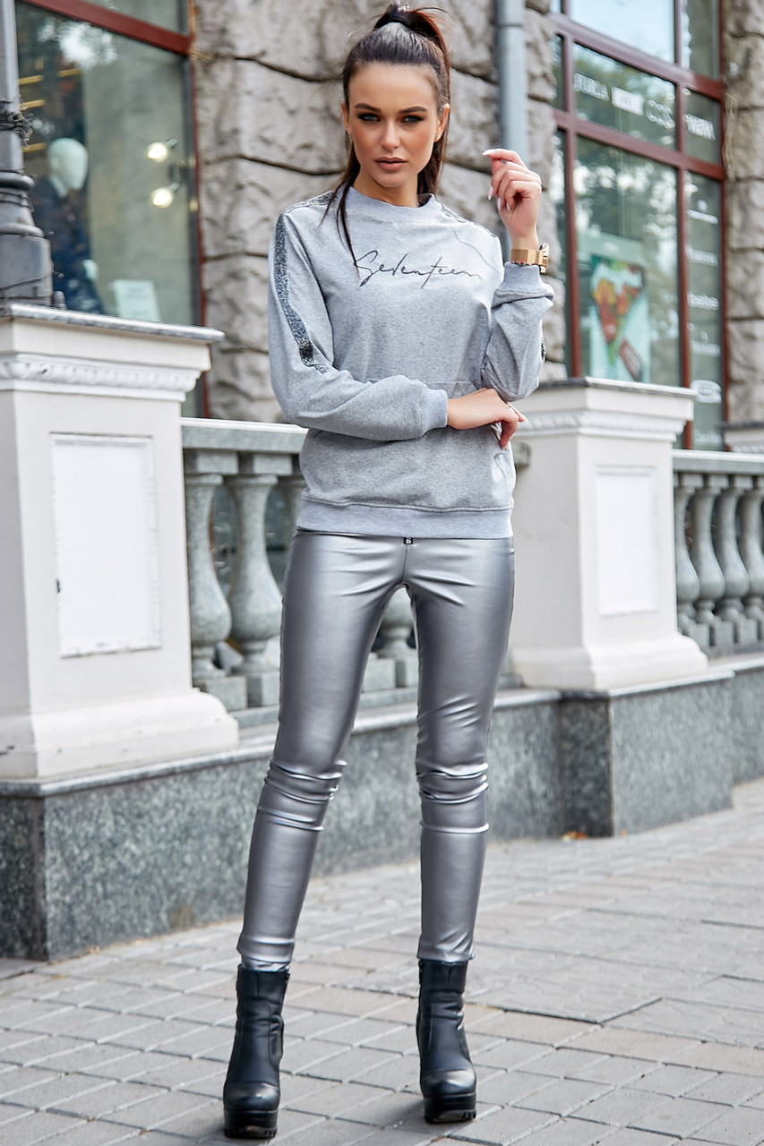 Модная молодежная толстовка 1228.3756 серый меланж