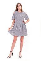 Женское платье светло-серое летнее с открытыми плечами