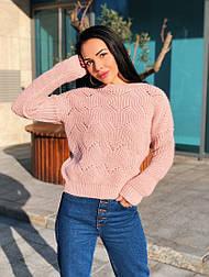 Женский теплый шерстяной свитер ажурной вязки (в расцветках)
